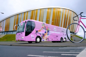 Contra Vision wrapped tour bus for Merida